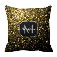 Beautiful Yellow Gold sparkles Monogram Throw Pillow Cushion by #PLdesign #GoldSparkles #SparklesGift