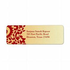 Paisleys Elegant Indian Return Address Label #customized #wedding #labels #stickers #Indian #stationery $2.90 per sheet of 20 address labels.