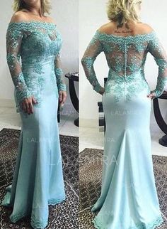 Satin Floor-Length Trumpet/Mermaid Long Sleeves Mother of the Bride Dresses - lalamira Mob Dresses, Fashion Dresses, Formal Dresses, Wedding Dresses, Robes Quinceanera, Mother Of The Bride Dresses Long, Turquoise Dress, Mermaid Prom Dresses, Lace Applique