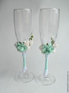 Купить Бокалы для свадьбы мята - мятный, белый, бокалы для свадьбы, бокалы для…