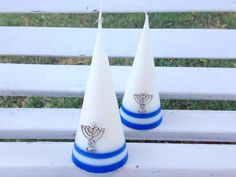 A pair of white soy candles cone shaped by CandlesbyDeganit, $18.00