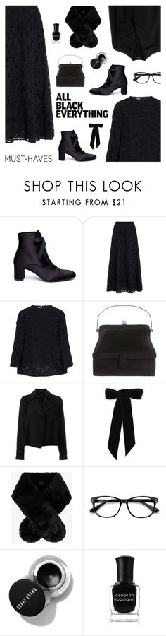 """Monochrome: All Black Everything"" by sproetje ❤ liked on Polyvore featuring Pedro García, Judith Leiber, Theory, Jennifer Behr, Simone Rocha, EyeBuyDirect.com, Deborah Lippmann, glasses, allblack and WearIt"