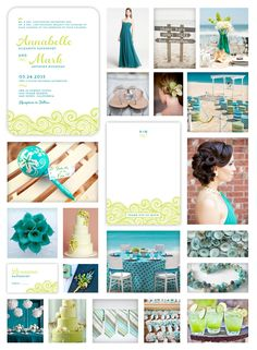 Aquamarine  Lime Beach Wedding -- Teal  Chartreuse Tropical Letterpress Wedding Invitation, Thank You Card and Place Card designed by Lauren DiColli Hooke for KleinfeldPaper.com