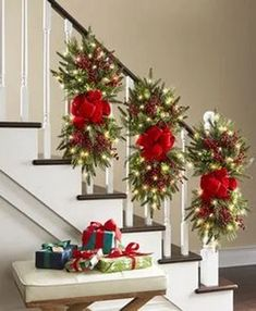 The Cordless Prelit Classic Holiday Swag - Hammacher Schlemmer christmasstaircasedecor Christmas Stairs Decorations, Christmas Swags, Christmas Door, Christmas Centerpieces, Outdoor Christmas, Christmas Time, Rustic Christmas, Christmas Quotes, Christmas Ideas