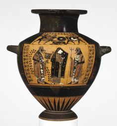 Black-Figure Hydria. Artist/Maker(s): Wider Circle of Lydos (Greek (Attic), active about 565 - 535 B.C.). Culture: Greek (Attic). Place(s): Athens, Greece (Place created). Date: about 550 B.C. Medium: Terracotta.
