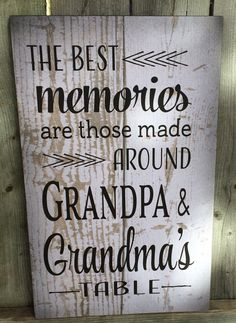 Best Memories Grandma & Grandpa's Wood Sign, Canvas Wall Art, or Canvas Banner - Christmas, Birthday, Mother's Day, Anniversary, Gift