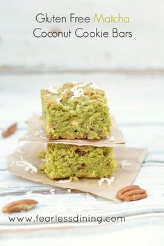 These gluten free matcha green tea coconut cookie bars are an IRRESISTIBLE treat. So easy to make and enjoy anytime, light and cake-like.