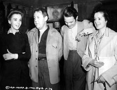 """Two couples on the set of """"Ladies in Retirement."""" Ida Lupino & Louis Hayward & visitor Charles Laughton & wife Elsa Lanchester (1941)"""