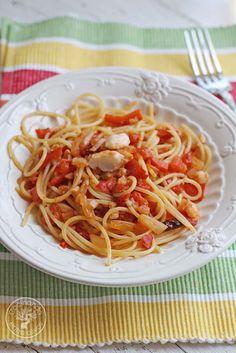 Espaguetis con bacalao. Receta paso a paso