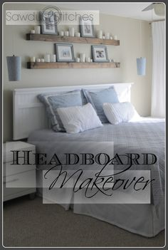 Above headboard shelves are neat! Good idea!