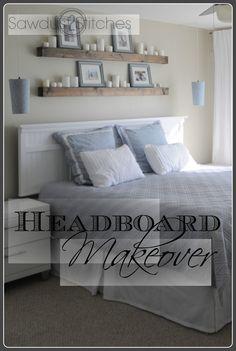 Above headboard shelves are neat! Good idea!