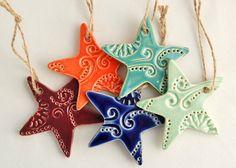 Mini Star Ornaments - Set of Three (3) - Ceramic Stoneware Pottery // Made in Greenville SC