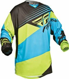 4944432af Fly Racing Kinetic Blocks Blue Hi-Viz Jersey Size Large 367-528L Motocross