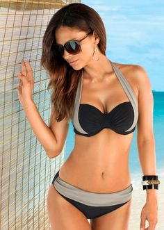 Halterneck bikini, B cup black/olive - bpc selection buy online - bonprix.co.uk