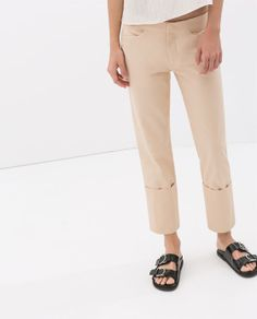 STUDIO COTTON TROUSERS WITH TURN-UP HEM