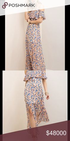 COMING SOON! Floral print maxi with ruffle panel at sleeves and bust. Adjustable straps. Side zipper. Partially lined. Non-sheer. Woven. Lightweight. A expected end of April. LIKE THIS LISTING TO BE NOTIFIED UPON ARRIVAL. Dresses Maxi