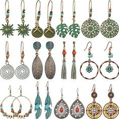 YAZILIND Vintage Boucles Doreilles En Cristal De Mariage Antique Style Balinais Tassel Drop Vintage Vintage Ethnique Boh/ème Boucles Doreilles pour les Femmes