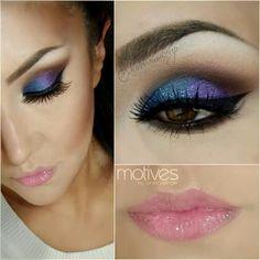 Azul&Morado&Destellos! Lindo! Maquillaje realizado por @MaquillateconAurora GB
