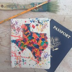 Splatter map passport cover featuring Texas and a heart over this customers hometown! Perfect gift for the lover of travel. Shop now for holiday gifts for your loved ones!