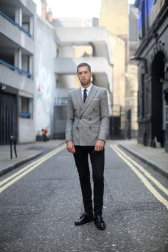 Sartorial Sunday - Mens Fashion - Grey double breasted blazer, white shirt, black tie, black skinny jeans, double monk strap shoes