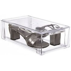 Add convenient storage and organization to any cluttered closet or cabinet space with the Small Clear Plastic Stackable Storage Drawer.  This plastic storage drawer makes a great shoe box for women's fashion footwear and offers a stacking design that is efficient for organizing spaces such as a linen closet bathroom va