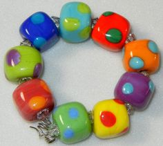 Handmade Lampwork Glass 12 Little Colorful Bead by DIFDesignsBeads, $30.00