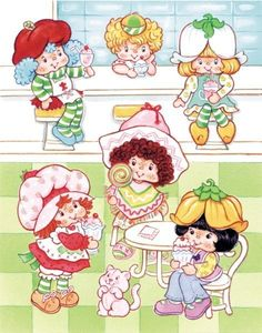 Classic Strawberry Shortcake and her international friends: Crepe Suzette, Lem or Ada (?), Mint Tulip, Cafe Ole, and Almond Tea Strawberry Shortcake Characters, Vintage Strawberry Shortcake Dolls, Strawberry Shortcake Party, 90s Childhood, Childhood Memories, Vintage Cartoon, Vintage Toys, Almond Tea, Hello Kitty