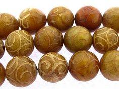 Etched Jade Round Gemstone Beads 14mm (GS3286)