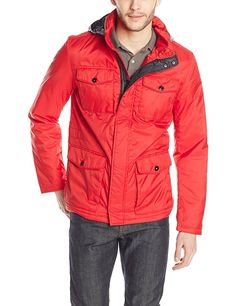 Victorinox Men's Valen II Jacket with Stowaway Hood, Kelvin Red