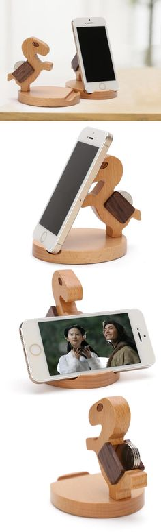 Wooden Horse Portable Cell Phone Holder For Iphone Ipad