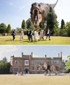 I love that this whole dinosaur attack thing is becoming a wedding photography trend!