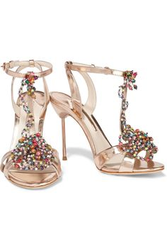 Sophia WebsterMonique bead-embellished metallic leather sandalsoutfit