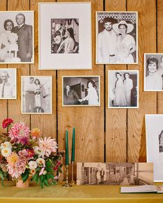 A guest-book-table photo gallery featured weddings from both the bride's and the groom's families.