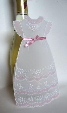 Baptism invitation Pink Dress by WangoArt on Etsy