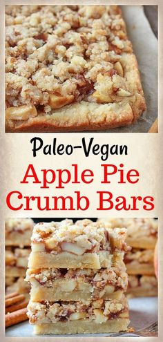 These Paleo Apple Pie Crumb Bars are a delicious fall treat! Caramelized apples are layered on top of a sweet shortbread crust and then topped with an irresistible streusel topping. Gluten free, dairy free, and vegan!
