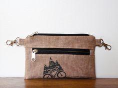 Belt bag brown linen Vegan printscreen Mountain bike by SKmodell