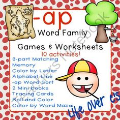 -ap Word Family CVC Games/Centers and Worksheets US/UK Versions from Life Over C's on TeachersNotebook.com -  (37 pages)  - 10 fun activities and printables for the the -ap CVC word family. Great for word work & literacy centers.