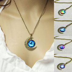 Moon Pendant  Necklace Brand Fashion Jewelry Galaxy Glass cabochon vintage bronze Chain statement necklace women accessories