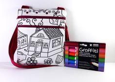 Color Me Bag, Personalized Bag, Little Girls Bag, Sling Bag, Girls Purse, Kids Bag, Small Messenger Bag, Small Girls Bag, Bag, Knapsack, Bag - pinned by pin4etsy.com