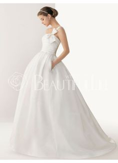 Charming Satin Sweep Train Strapless Bow Ball Gown #Wedding #Dress