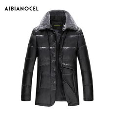 AIBIANOCEl 100% Sheepskin Genuine Leather Coat Men Winter Warm Jackets Man Real Leather Down Coats With 90 White Duck Down Coat