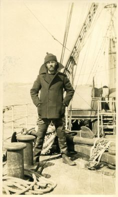 Love that coat.. and hat.. and boots..     Crew member W. F. Howard on board RRS Discovery