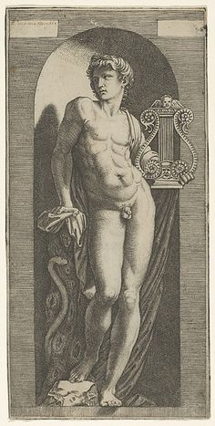 A statue of Apollo, naked standing in a niche, holding a lyre in his left hand and leaning on a tree trunk Apollo Mythology, Greek And Roman Mythology, Greek Gods, Apollo Greek, Apollo And Artemis, Apollo Tattoo, Apollo Aesthetic, Apollo Statue, Statue Tattoo
