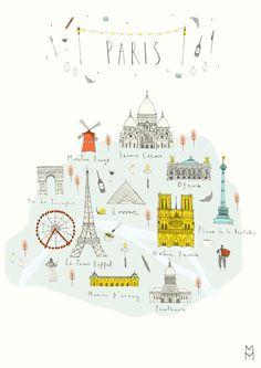 Molly Martin - A little map of Paris! Paris Illustration, Travel Illustration, Map Illustrations, Paris Map, Paris Travel, Travel Maps, Travel Posters, Map Design, Book Design