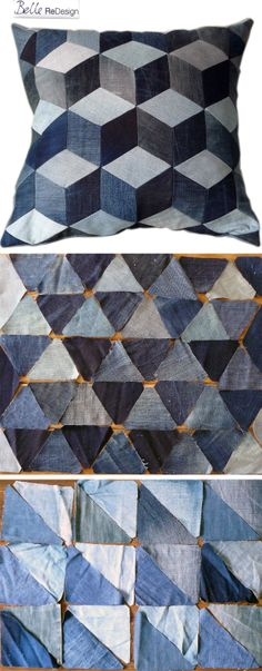 Different geometrical patterns for pillos made of small pieces of old jeans, patchwork, denimquilt.
