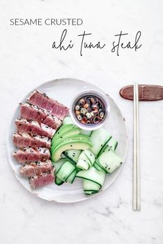 4 Points About Vintage And Standard Elizabethan Cooking Recipes! This Grilled Ahi Tuna Steak Is Served With A Cooling Cucumber Salad, Creamy Avocado, And A Punchy Wasabi Soy Dipping Sauce. Tuna Steak Recipes, Fish Recipes, Seafood Recipes, Cooking Recipes, Tilapia Recipes, Cooking Tips, Tuna Steaks, 15 Minute Meals