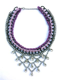 Handmade purple crochet necklace with draping diamante by schmikk, $82.00