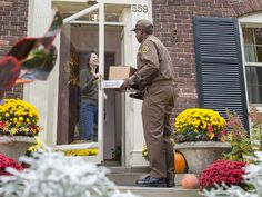 UPS delivering a parcel to a customer