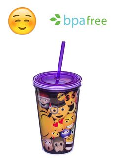 Unique Insulated Emoji Tumbler in Purple with lid plus straw   High-Quality and Leak Proof   Party Favors   Party Supplies   Perfect for kids or adults   16 oz in size