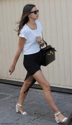 Irina Shayk spring street style with Hermes handbag